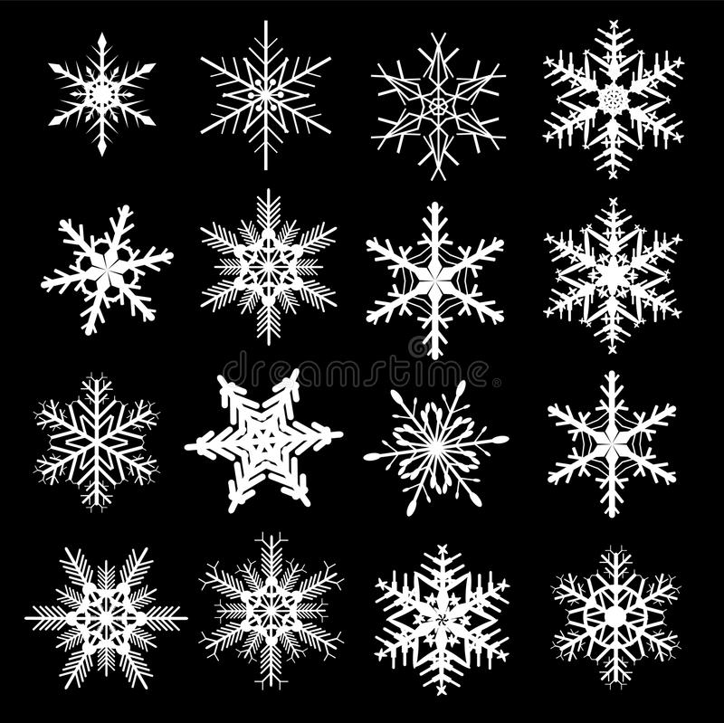 ustawia płatek śniegu zima ilustracji