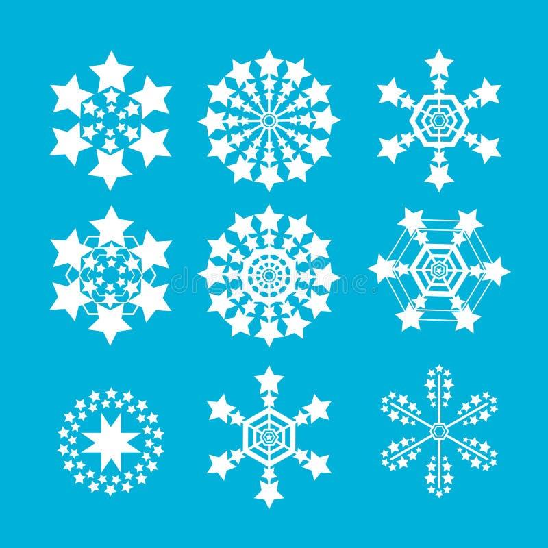 ustawia płatka śniegu wektor śnieżna płatek ikona royalty ilustracja