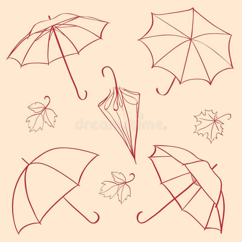 ustawia parasol royalty ilustracja