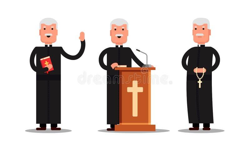 Ustawia pastora charakteru pozycję z krzyżem, biblia, trybuna odizolowywająca na białym tle Kaznodzieja mężczyzna w różnych pozac ilustracji