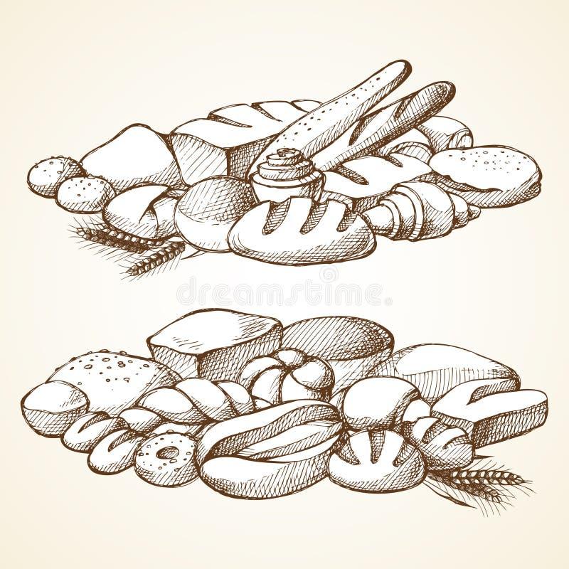 Ustawia piekarni nakreślenia wektoru ilustrację ilustracji