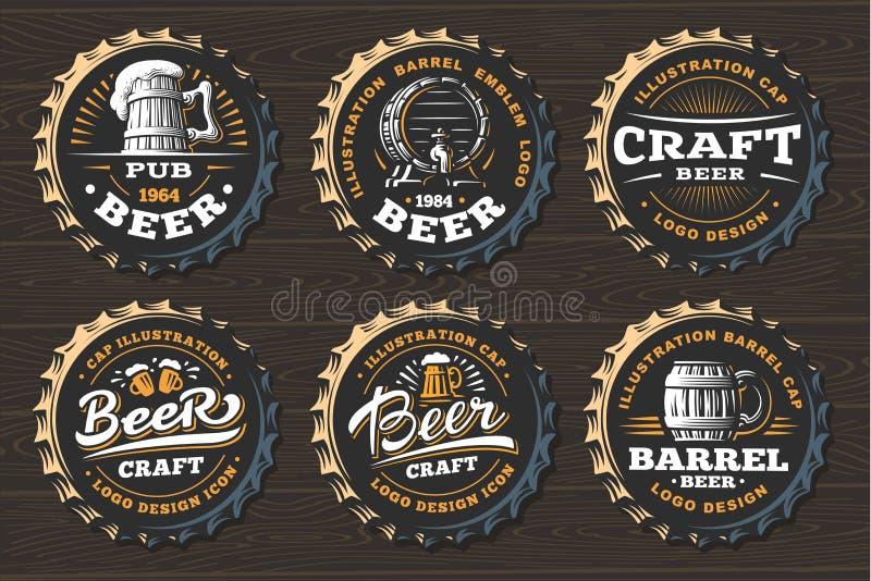 Ustawia piwnego loga na nakrętkach - wektorowa ilustracja, emblemata browaru projekt ilustracji