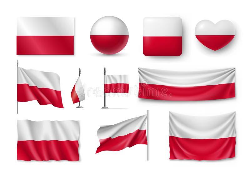Ustawia Polska flaga, sztandary, sztandary, symbole, płaska ikona royalty ilustracja