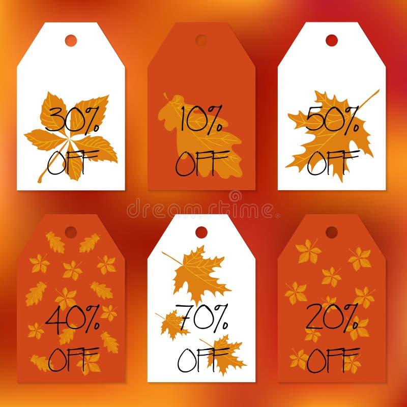 Ustawia prezent etykietki Zapas ustawiający dla jesieni sprzedaży Abstrakta zamazany pomarańczowy tło Spadków liście Tekst procen royalty ilustracja