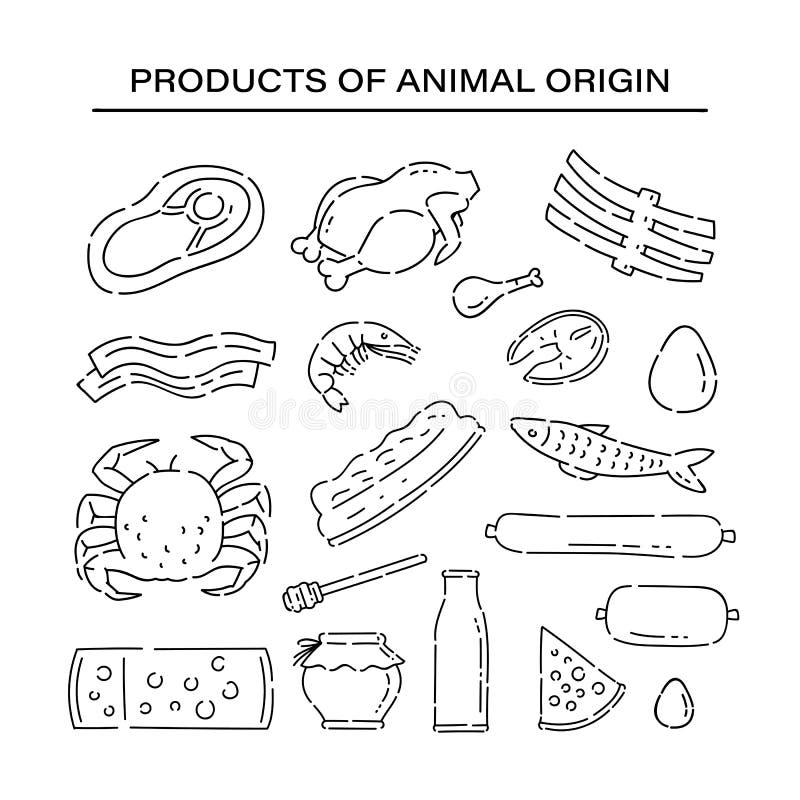 Ustawia produktu zwierzęcego początku linii doodle ikony Rozmaitości nakreślenia proteinowy karmowy wektorowy czerń odizolowywał  ilustracji