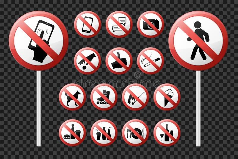 Ustawia prohibicja znaki Realistyczne glansowane ikony wektor royalty ilustracja