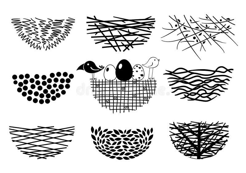 Ustawia ptasie gniazdeczko ikony ilustracja wektor