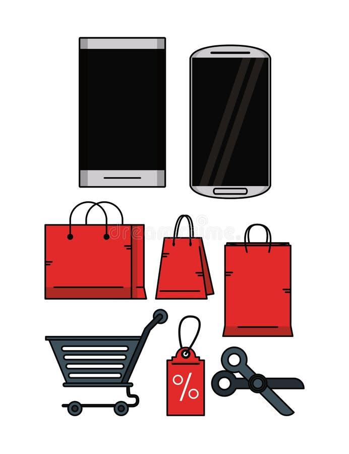 Ustawia robić zakupy online ilustracja wektor