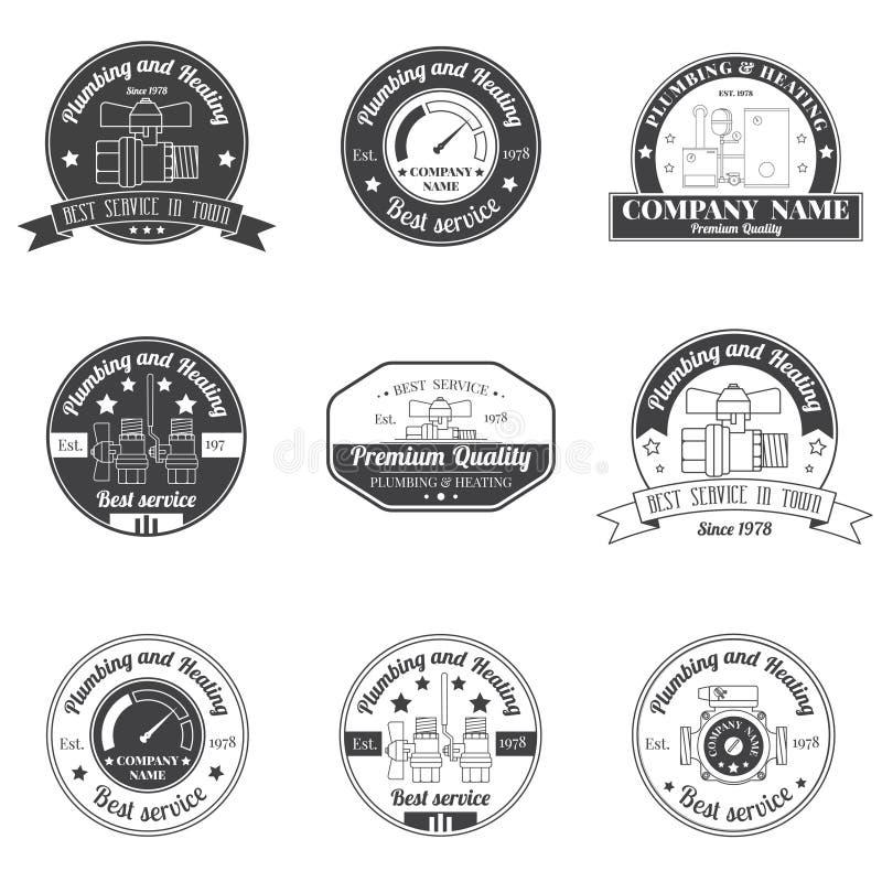Ustawia rocznik instalację wodnokanalizacyjną, Ogrzewa usługa logo, etykietki i odznaki, ilustracja wektor