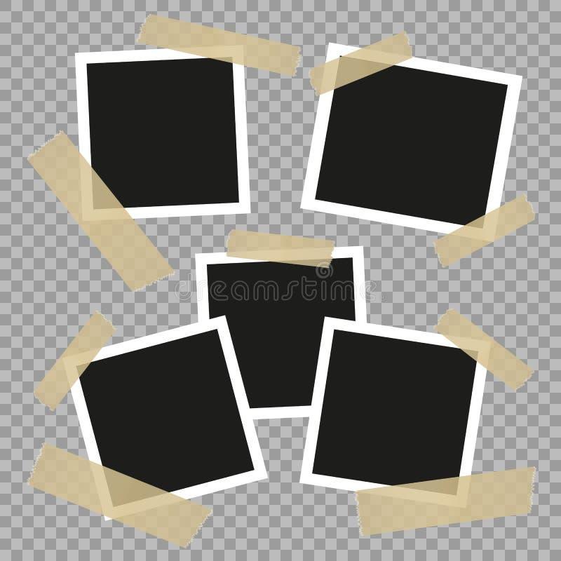 Ustawia rocznika, retro fotografii ramy z adhezyjną taśmą ilustracyjny lelui czerwieni stylu rocznik Wektorowi projektów elementy ilustracji