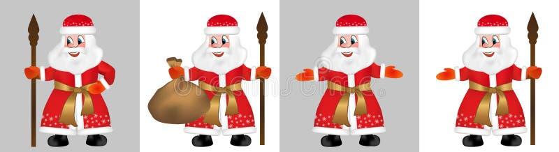 Ustawia rosjanina Święty Mikołaj lub ojca mróz także znać jako Ded Moroz w czerwonym futerkowym żakiecie Świątobliwy Nicholas, Św royalty ilustracja