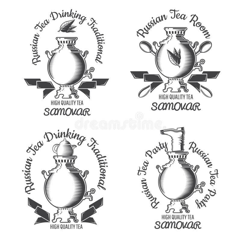 Ustawia samowar z teapot i buta wierzchołkiem Russiaan tradycji herbaciany logo dla kawiarni, teahouse, herbaciany przyjęcie royalty ilustracja
