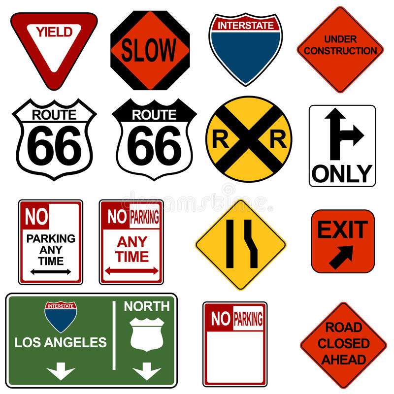 ustawia signage ruch drogowy royalty ilustracja