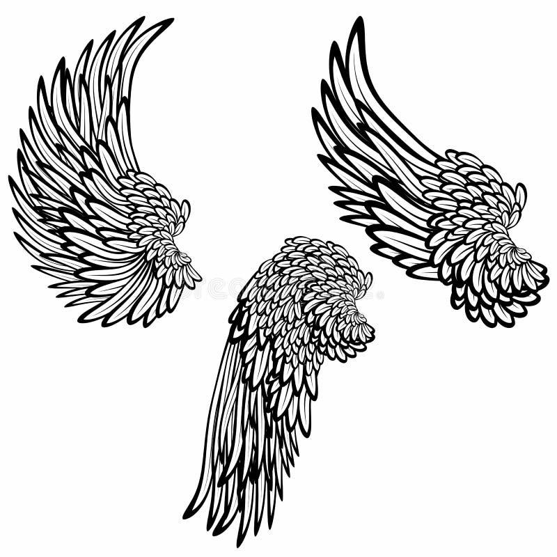 ustawia skrzydła ilustracja wektor