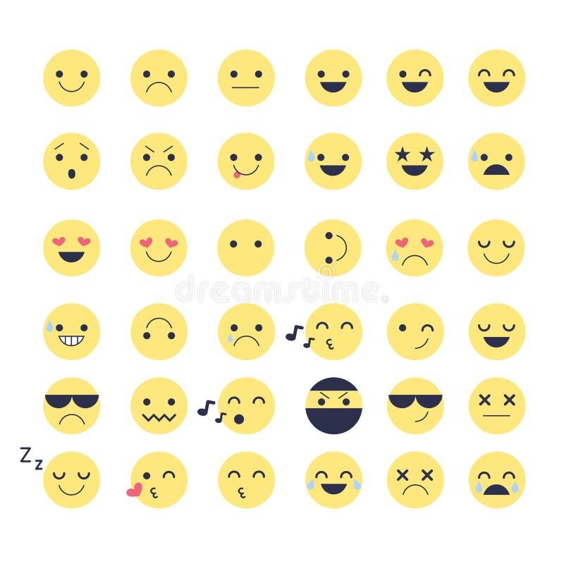 Ustawia Smiley ikony dla zastosowań i gadki Emoticons z różnymi emocjami odizolowywać na białym tle royalty ilustracja