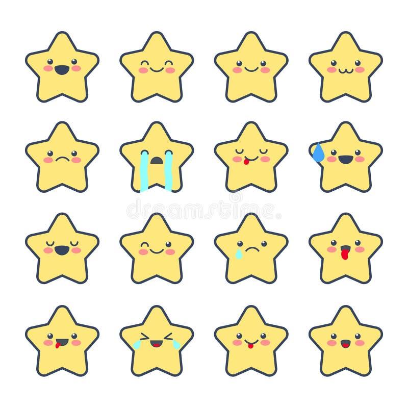 Ustawia Smiley ikony dla zastosowań i gadki Emoticons z różnymi emocjami odizolowywać na białym tle ilustracja wektor