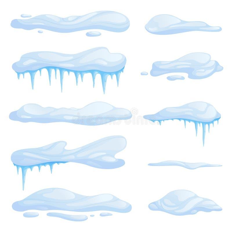 Ustawia snowdrifts w różnych kształtach i rozmiarach Dryfy z soplami ilustracja wektor