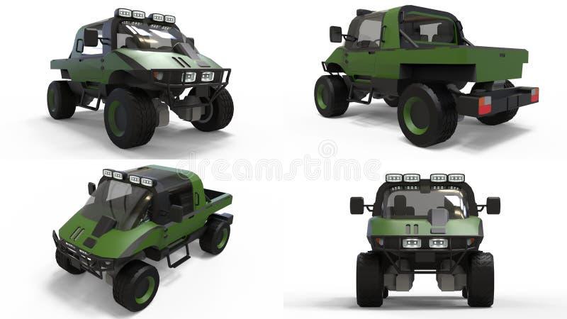 Ustawia specjalnego terenu pojazd dla trudnego terenu, trudnej droga i warunek pogodowy świadczenia 3 d fotografia stock
