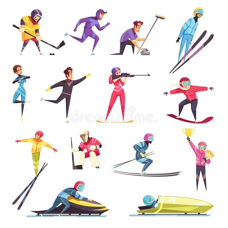 ustawia sport zima royalty ilustracja