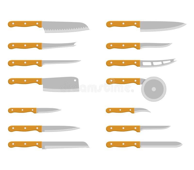 Ustawia stalowych kuchennych noże rzeźbi, paring, użyteczności narzędziowy kulinarny wyposażenie royalty ilustracja