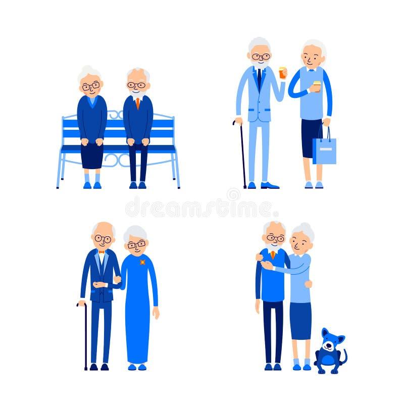 Ustawia starszej osoby pary Szcz??liwy emerytura poj?cie rozrywki wakacyjny ikon czas wolny us?uga set Miłość, romansowy związek  royalty ilustracja