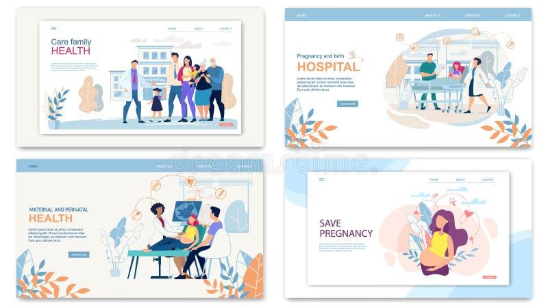 Ustawia strona internetowa kolażu opieki Rodzinnych zdrowie, brzemienność ilustracja wektor