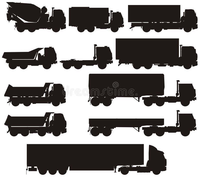 ustawia sylwetek ciężarówki wektor ilustracji