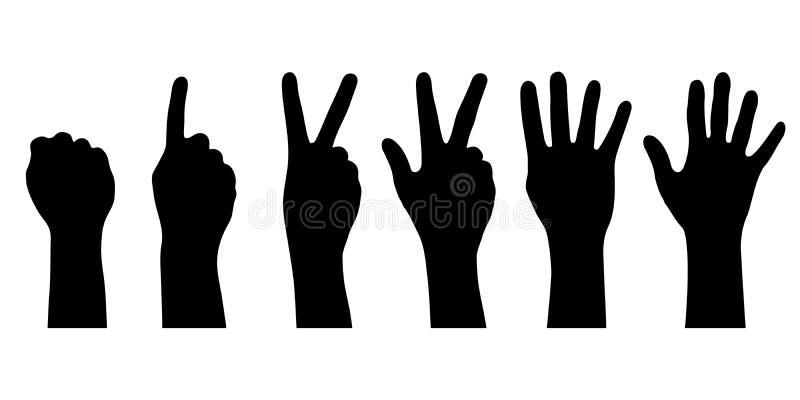 Ustawia sylwetek ludzkie ręki ilustracja wektor