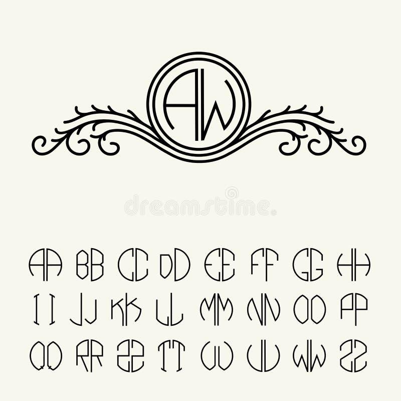 Ustawia szablonów listy tworzyć monogramy zdjęcie royalty free