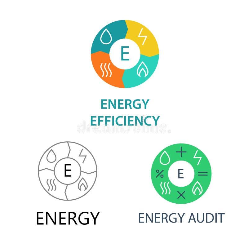 Ustawia szablonów logów dla energetycznych firm royalty ilustracja