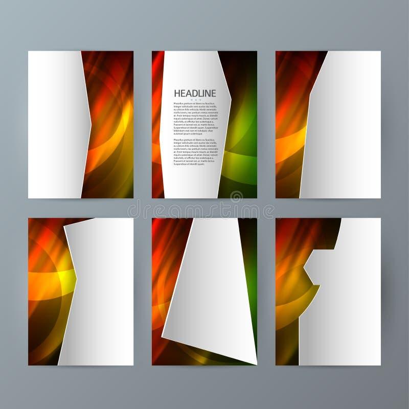 Ustawia szablon broszurki pionowo mockup gorącą łunę effect04 ilustracja wektor
