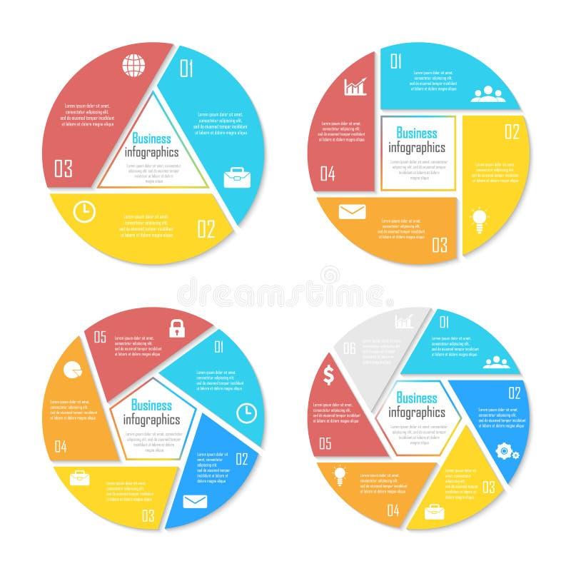 Ustawia szablon dla okręgu diagrama, opcj, sieć projekta, wykresu i round infographic, royalty ilustracja