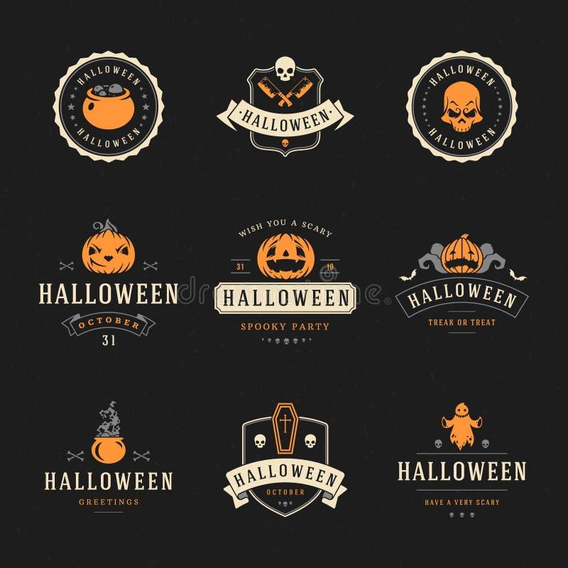 Ustawia Szczęśliwe Halloweenowe odznaki etykietki i royalty ilustracja