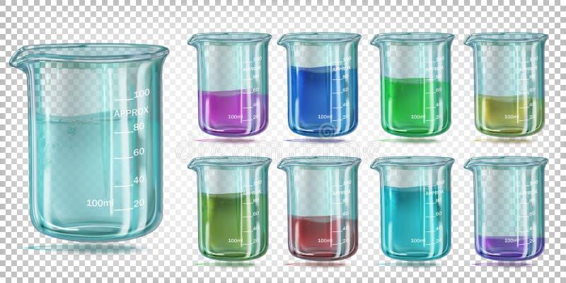 Ustawia szklan? chemiczn? zlewk? z barwionym cieczem royalty ilustracja