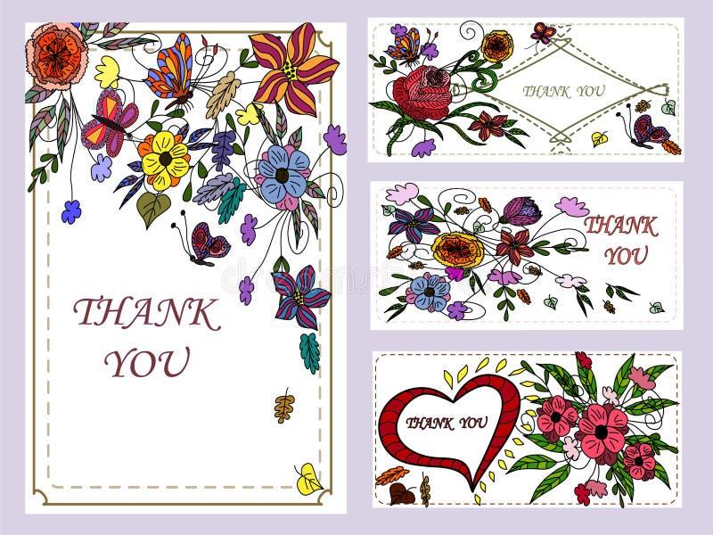 Ustawia sztandar z abstrakcjonistycznymi kwiatami zdjęcia stock