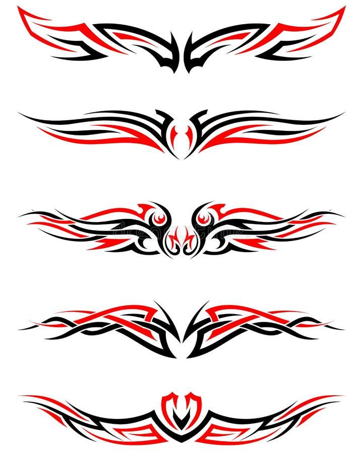 ustawia tatuaże plemiennych royalty ilustracja