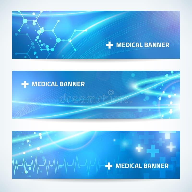 Ustawia technologia sztandaru medycznego tło dla sieci lub druku royalty ilustracja