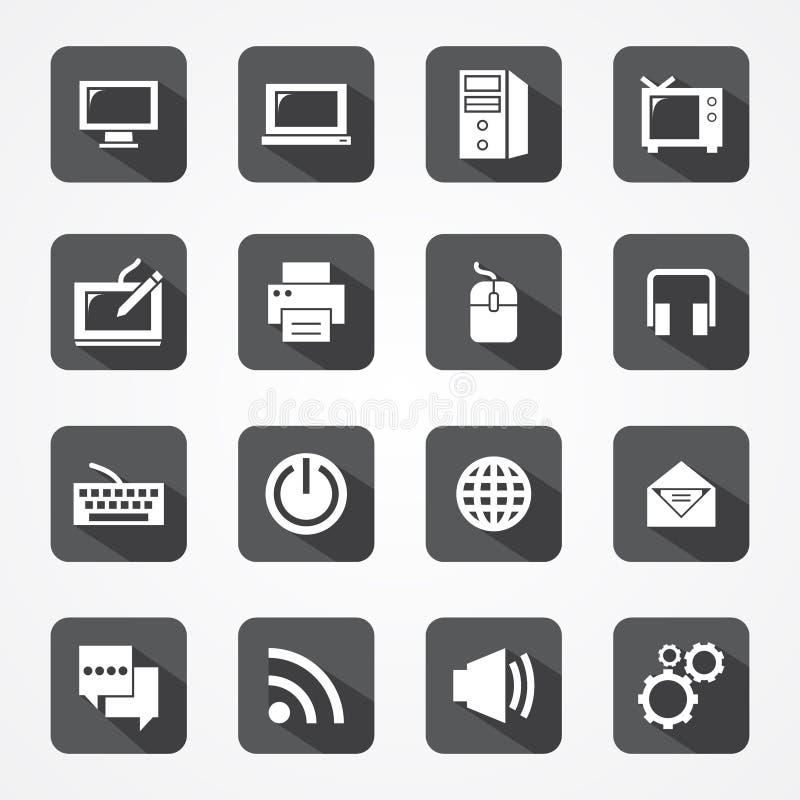 Ustawia technologii app wiszącą ozdobę i komputer ikonę royalty ilustracja