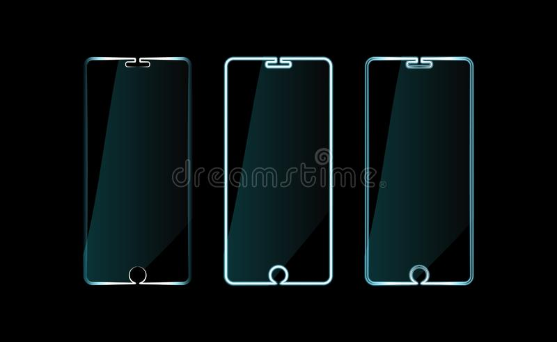Ustawia telefonu komórkowego gadżetu neonową ikonę, smartphone znak Jaskrawy rozjarzony symbol w czerni Stylów światła Pastylka k ilustracja wektor
