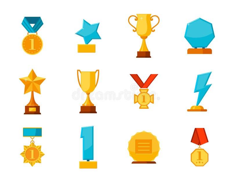 Ustawia trofeum zwycięzcy nagrody kolekcję odizolowywającą na białym tle Wiszący medale, szkło nagrody, złociste filiżanki w mies royalty ilustracja