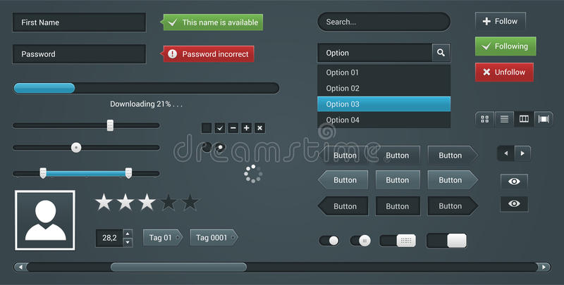 Ustawia UI elementy dla strony internetowej Wektorowy interfejs ilustracja wektor