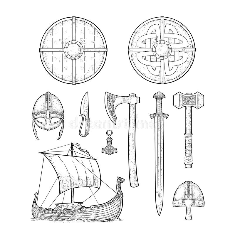 Ustawia Viking Nóż, drakkar, cioska, hełm, kordzik, młot, thor amulet royalty ilustracja