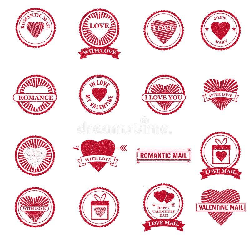 Ustawia walentynki s dzień i Poślubiać Romantyczną znaczek pocztowy pocztówkę, zaproszenie projekt Znaczek w formularzowym sercu  ilustracji