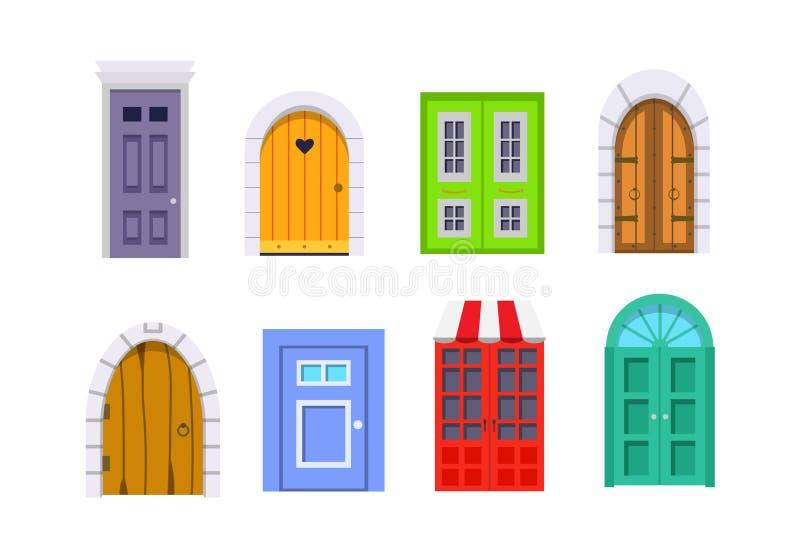 Ustawia wejściowego drzwi frontowego widok stwarza ognisko domowe i budynku wektorowy element w kreskówka stylu royalty ilustracja