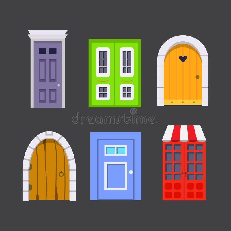Ustawia wejściowego drzwi frontowego widok stwarza ognisko domowe i budynku wektorowy element w kreskówka stylu ilustracji