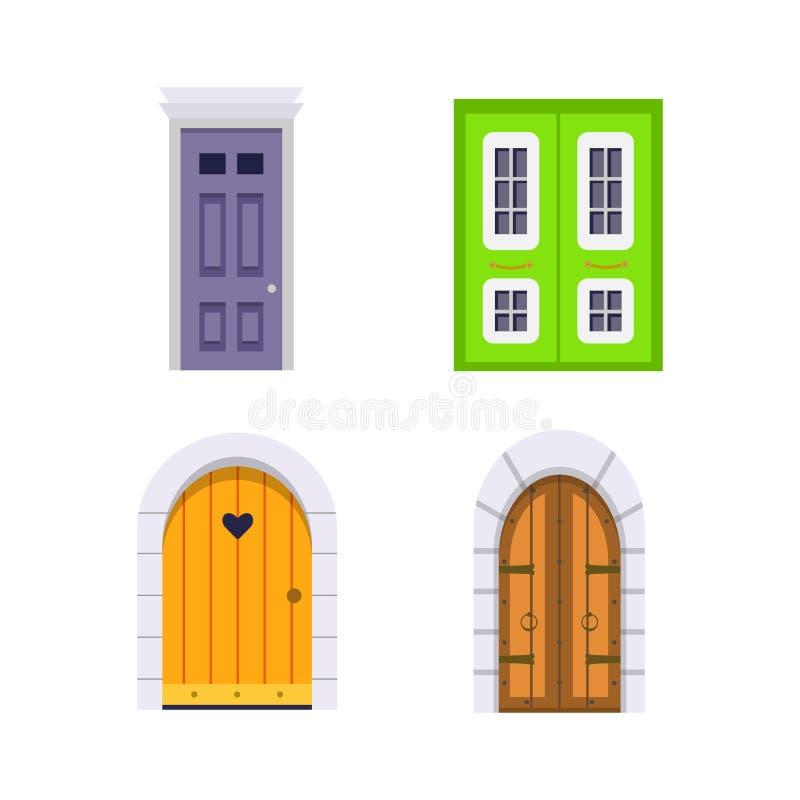 Ustawia wejściowego drzwi frontowego widok stwarza ognisko domowe i budynku wektorowy element w kreskówka stylu ilustracja wektor
