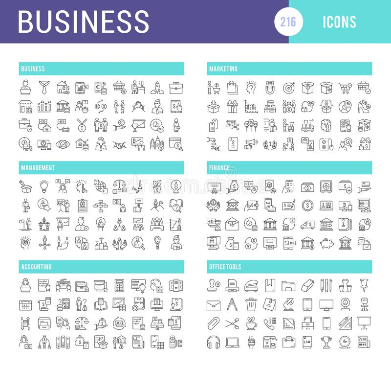 Ustawia wektor Kreskowe ikony biznes ilustracji