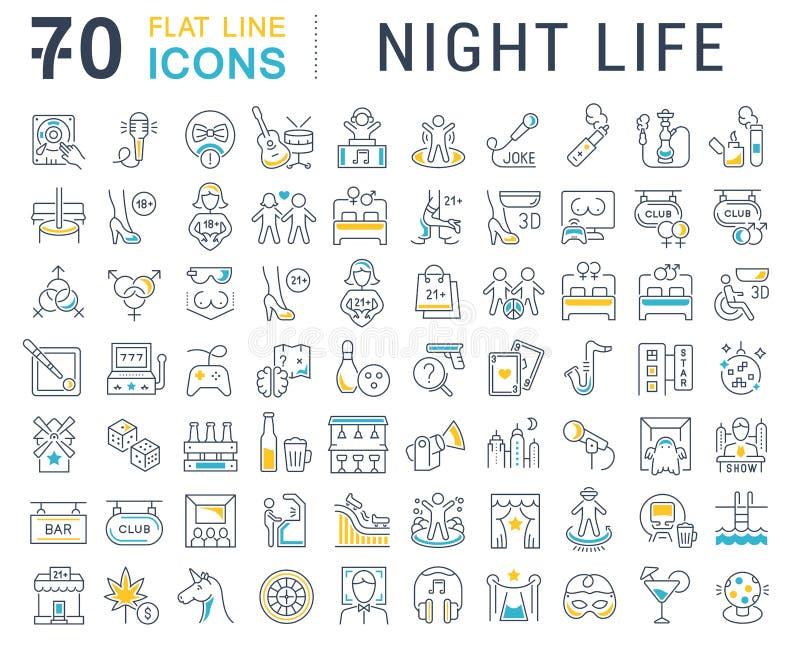 Ustawia wektor Kreskowe ikony nocy życie ilustracja wektor