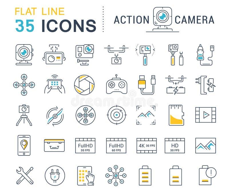Ustawia Wektorową mieszkanie linii ikon akci kamerę royalty ilustracja