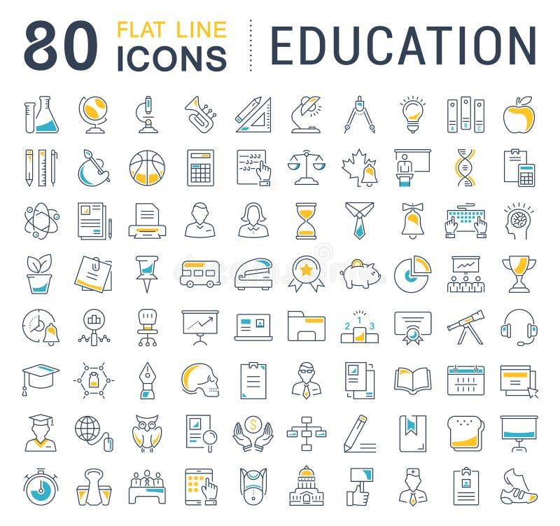 Ustawia Wektorową mieszkanie linii ikon edukację royalty ilustracja